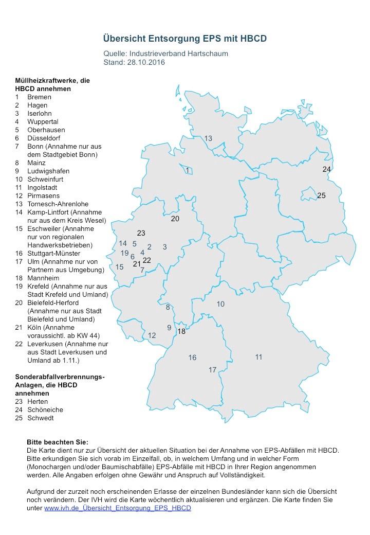 Übersichtskarte Entsorgung von HBCD-haltigem EPS, Stand 28.10.2016 (Quelle: IVH)